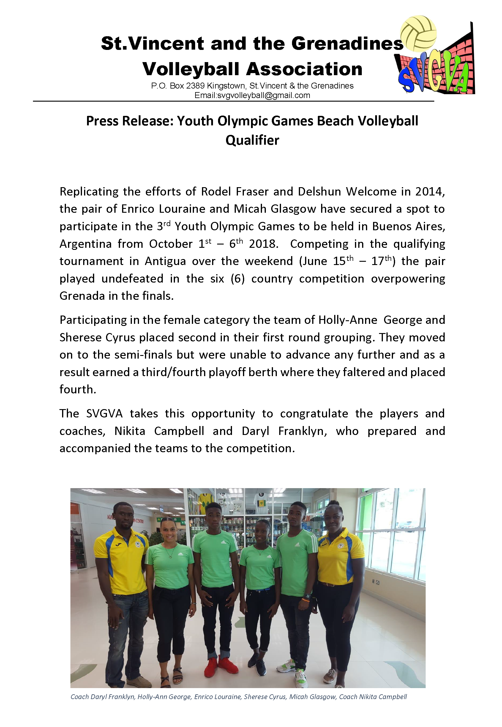 2018 Jun 17 Press Release - YOG2018 Beach Volleyball Qualifier