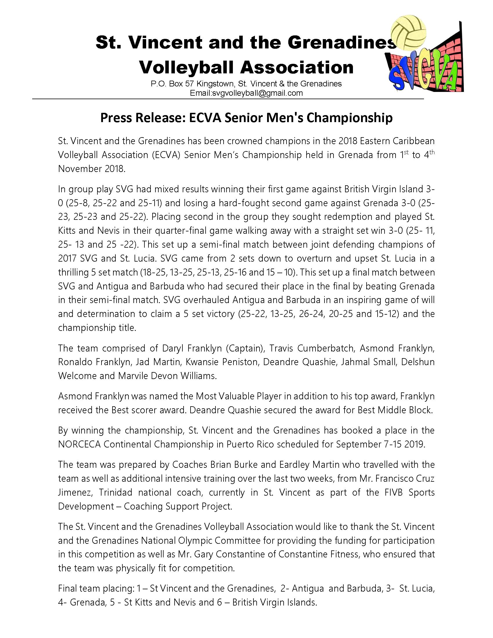 2018 Nov 05 Press Release - ECVA Senior Men's Championship Results_Page_1