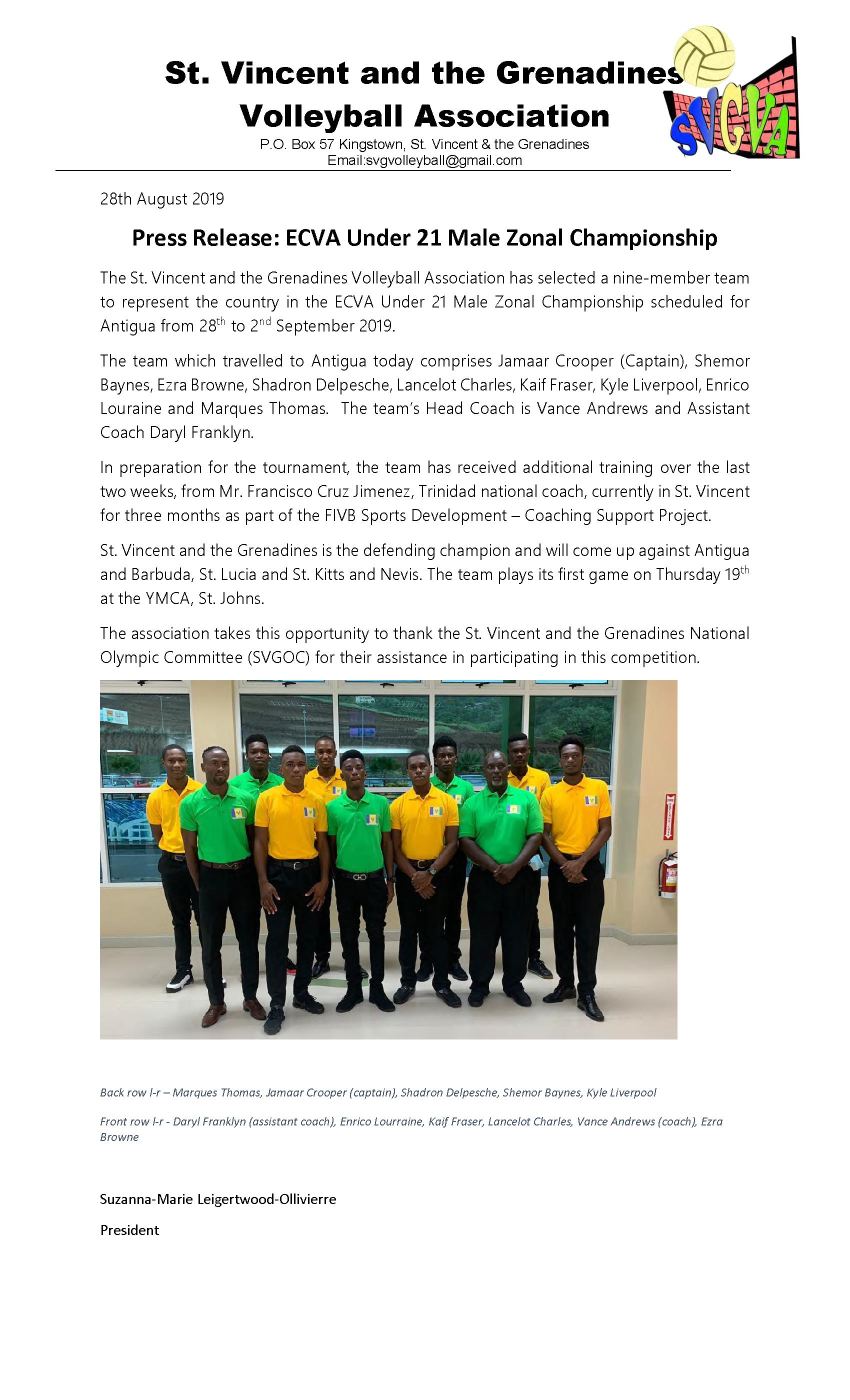 2019 Aug 28 Press Release - ECVA Under 21 Male Zonal Championship