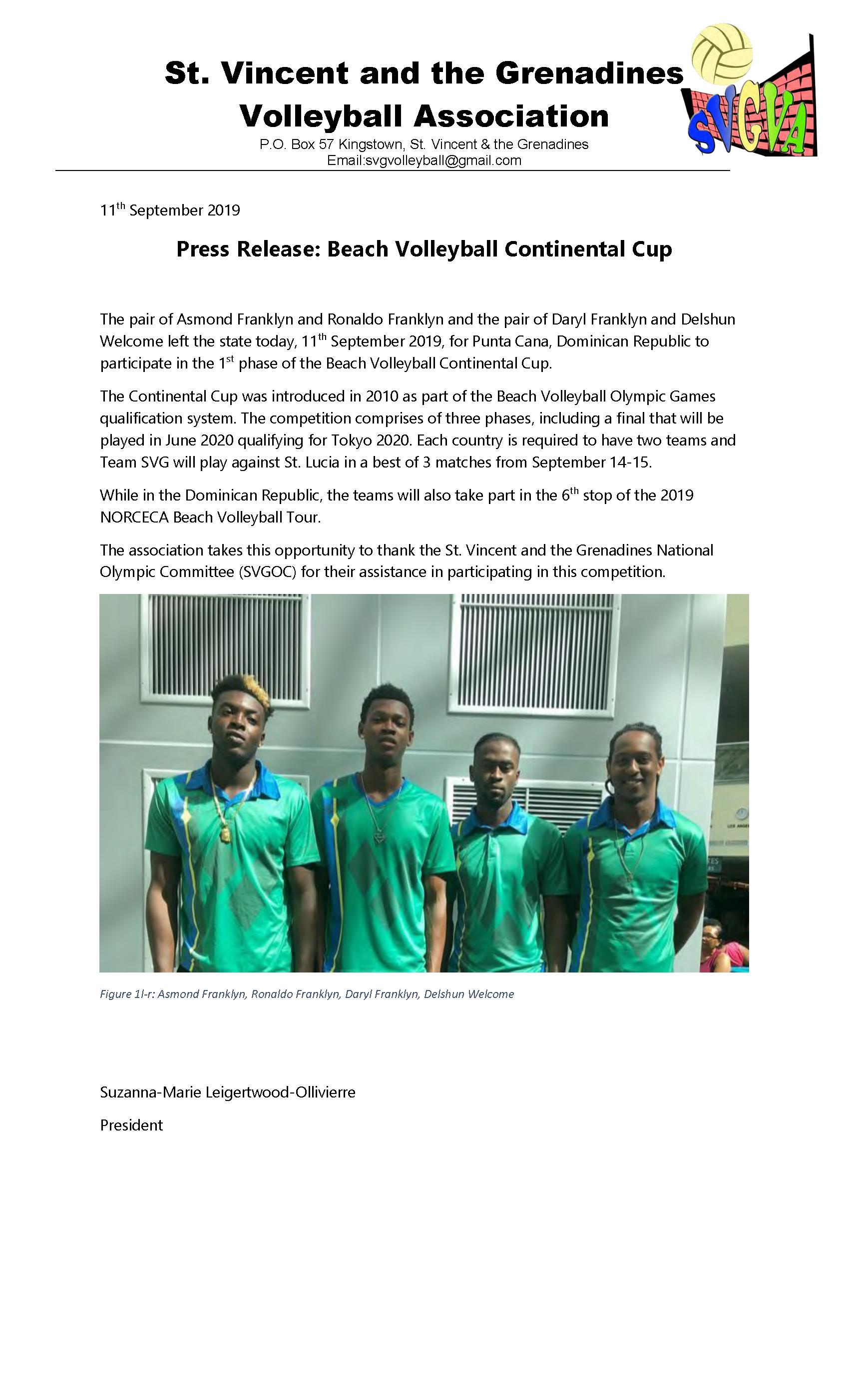2019 Sep 11 Press Release - Beach Volleyball Continental Cup