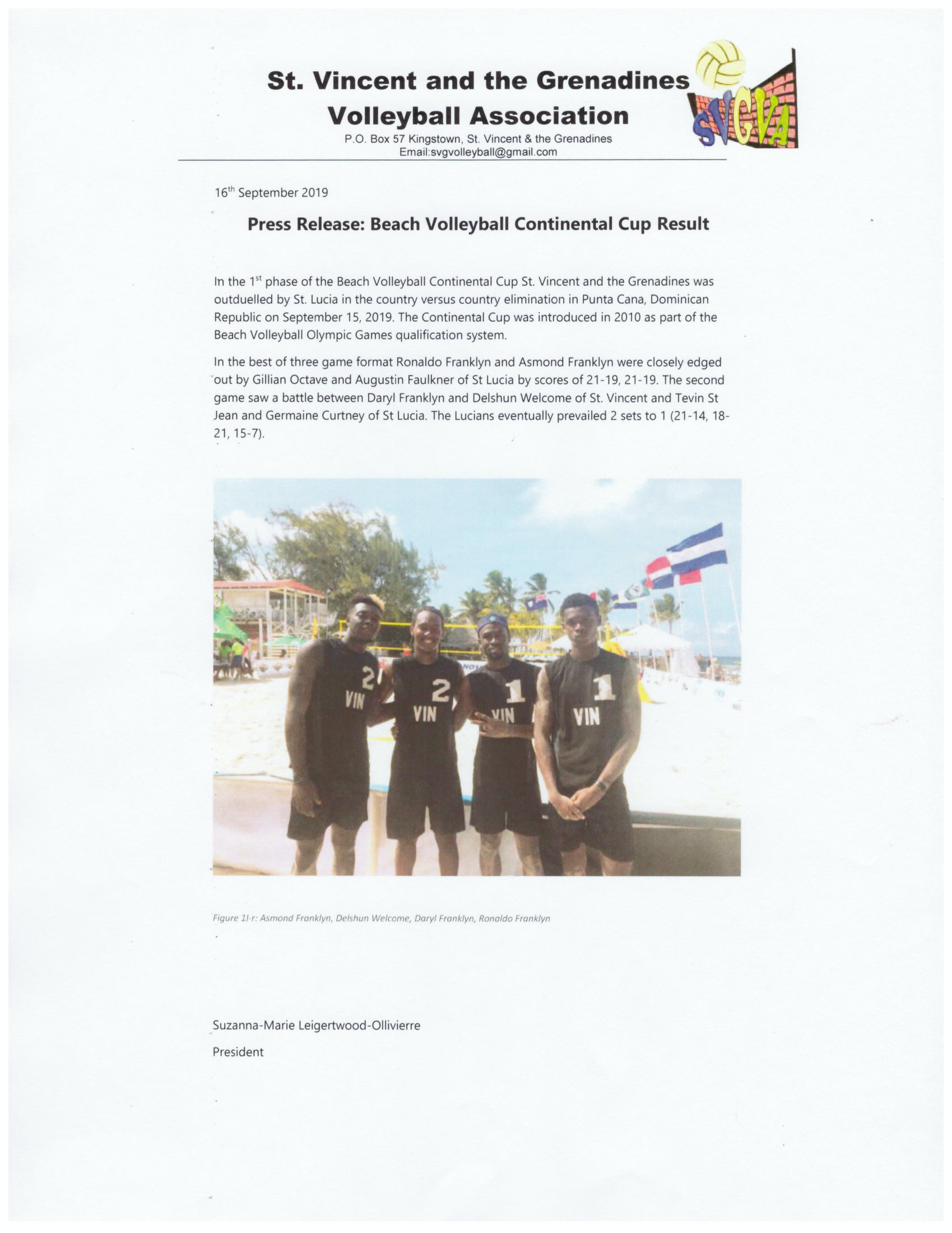 2019 Sep 16 Press Release - Beach Volleyball Continental Cup Result