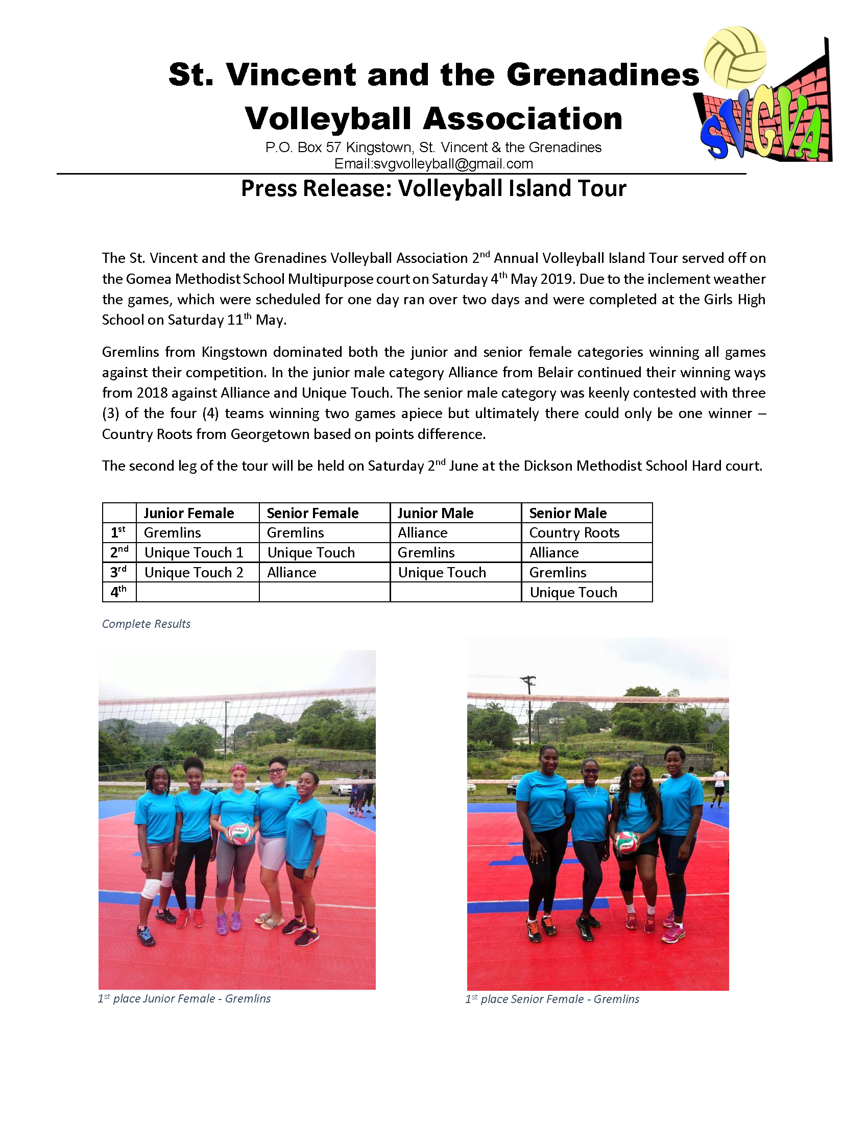 Press Release - Volleyball Island Tour